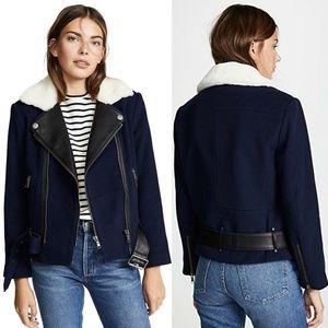 JOIE Fayana Shearling & Leather Trim Moto Jacket